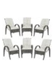 Cadeiras 6Un P/ Jardim Lazer Edicula Varanda Descanso Fibra E Tramas Napoli Plus Tabaco A34
