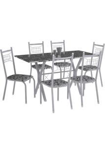 Conjunto De Mesa Miami Com 6 Cadeiras Lisboa Branco Prata E Branco Floral