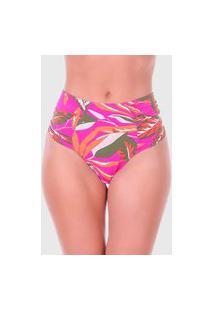 Calcinha Summer Soul Hot Pants Franzido Folhagem Pink