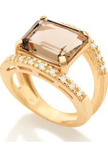 Anel Com Pedra Rommanel - Feminino-Dourado