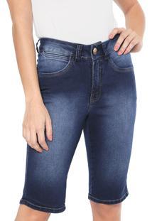 Bermuda Jeans Denuncia Reta Middle Azul