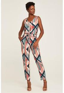 Calça Pijama Geo Stripes Feminina - Feminino-Azul+Rosa