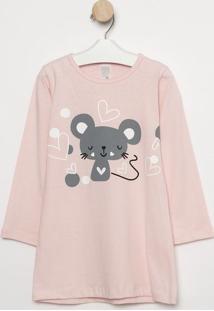 Camisola Ratinha & Corações- Rosa Claro & Cinza Escuro