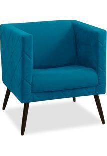 Poltrona Decorativa Maisa Suede Azul Royal - D'Rossi