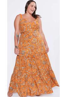 Vestido Almaria Plus Size Tal Qual Longo Estampado