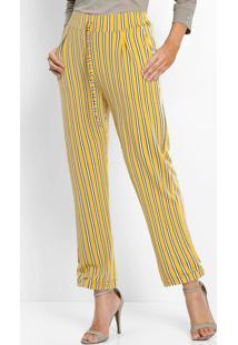 Calça Comfort De Malha Listrada Preta E Amarela