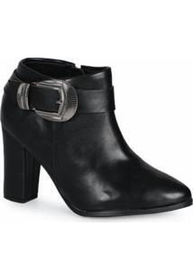 Ankle Boots Feminino Beira Rio Fivela Preto