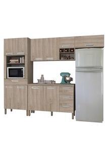Cozinha Compacta Ametista Com Balcáo 10 Portas Composiçáo 5 Nogal - Kit'S Paraná