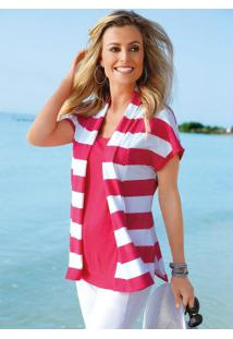 Blusa Visual Duplo Listrada Rosa E Branca