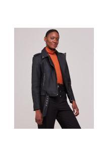 Amaro Feminino Jaqueta Leather Cinto Frontal, Preto