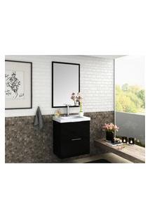 Conjunto Para Banheiro Preto 60 Cm Em Mdf Lilies Móveis
