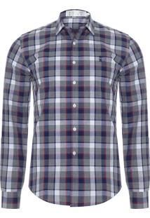 Camisa Masculina Tricoline Xadrez - Cinza