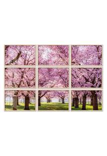 Quadro 150X225Cm Painel Sakura Cerejeiras Rosas Moldura Natural Com Vidro