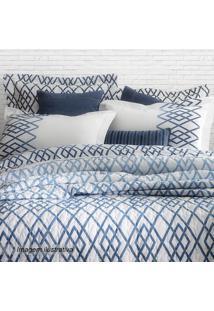 Edredom Blue Casal- Branco & Azul- 220X250Cm- 30Sultan