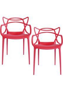 Kit 2 Cadeiras Decorativas Para Sala De Jantar Amsterdam F01 Vermelha