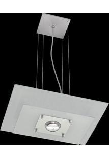 Pendente Saturno Aluminio E Vidro Lmr 139 Escovado Branco Bivolt