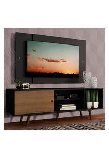 Rack Madesa Dubai Com Pés E Painel Para Tv Até 58 Polegadas - Preto/Rustic D8D8 Preto