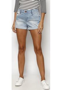 Short Jeans Estonado Com PuãDos & Pesponto - Azul Claro