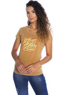 Camiseta Pina Colada Babylook Foxy Lady Feminina - Feminino-Marrom