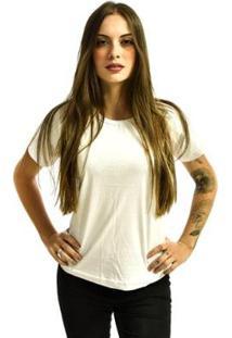 Camiseta Rich Baby Look Básica Lisa Feminina - Feminino-Branco