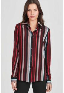 Camisa Listras Rubinella Verticais Feminina - Feminino-Preto+Vinho