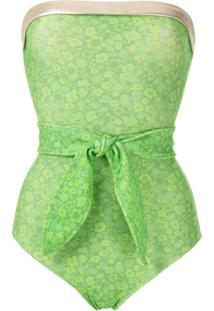 Adriana Degreas Maiô Estampado Com Amarração - Verde