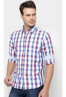 Camisa Xadrez Manga Longa Broken Rules Masculina - Masculino-Azul+Vermelho