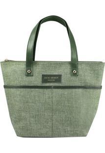 Bolsa Shopper Com Bolsos- Verde & Verde Escuro- 23,5Jacki Design