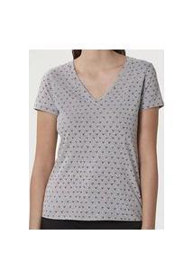 Camiseta Hering Feminina 4Enh Confort Malha Algodáo Decote V Cinza