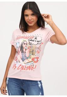"Camiseta ""Happiness Is Calling""- Rosa Claro & Vermelha"