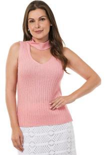 Malha De Tricô Pink Tricot Regata Shocker Feminina - Feminino-Rosa Claro