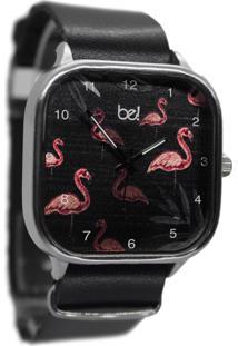 Relógio Bewatchoficial Flamingo Rose Pulseira De Couro Preta