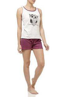 Pijama Curto Feminino Bege/Rosa
