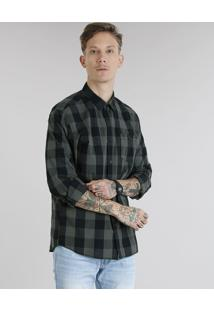 Camisa Masculina Xadrez Com Bolso Manga Longa Verde Militar