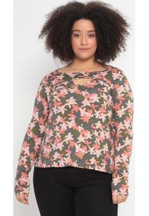 Blusa Com Decote Vazado- Verde Escuro & Rosa Claro- Malwee