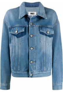 Mm6 Maison Margiela Jaqueta Jeans Com Detalhe Contrastante - Azul