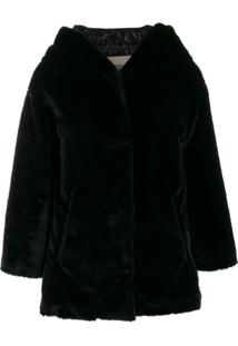Herno Faux Fur Single-Breasted Jacket - Preto