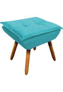 Puff Decorativo D'Rossi Opala Suede Azul Turquesa.