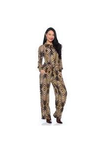 Macacão Pantalona B'Bonnie Del Geo Marrom