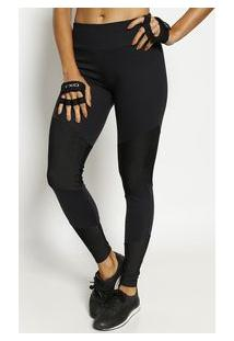 Body For Sure Legging Com Recortes Texturizados Preta