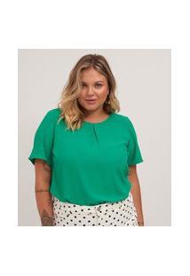 Blusa Em Crepe Lisa Com Zíper Nas Costas Curve E Plus Size Verde