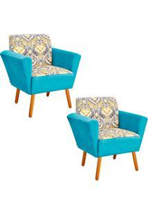 Kit 02 Poltrona D'Rossi Decorativa Dora Estampado D77 Com Suede Azul Tiffany