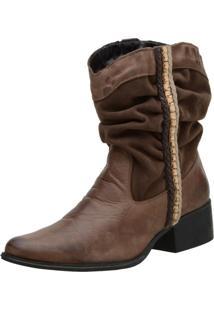 Ankle Boot Flor Da Pele Marrom