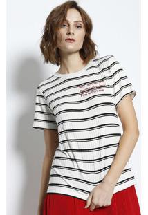 Camiseta Canelada Bordado - Branca & Pretacanal