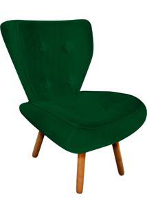 Poltrona Decorativa Tathy Suede Verde Pés Palito - D'Rossi