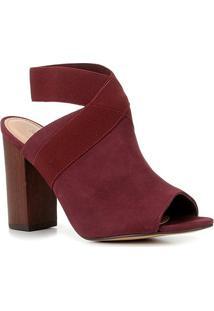 Sandália Couro Shoestock Nobuck Elástico Salto Bloco Alto Feminina - Feminino-Vinho