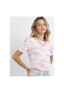 Blusa Feminina Estampada Tie Dye Manga Bufante Rosa