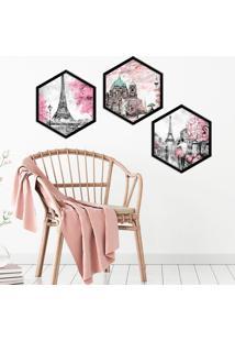 Kit 3 Quadros Com Moldura Hexagonal Painting