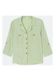 Camisa Manga 3/4 Lisa Com Bolsos E Botões | Marfinno | Verde | Gg