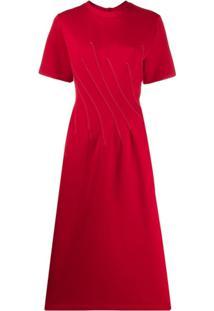 Marni Vestido Midi Com Detalhe De Costura - Vermelho
